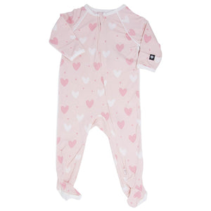 Sweet Bamboo Pink Heart Piped Footie