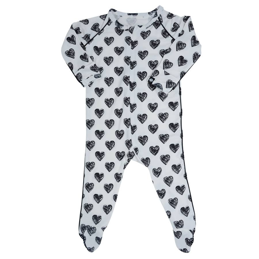 Sweet Bamboo Scribble Hearts Piped Footie