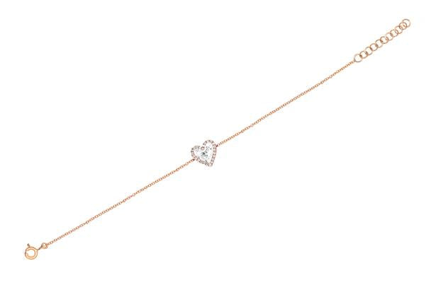 EF Collection Diamond & White Topaz Heart Rose Gold Bracelet