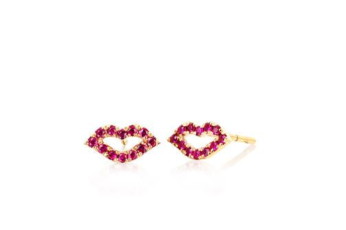 EF Collection Ruby Lip Yellow Gold Stud (1 unit)