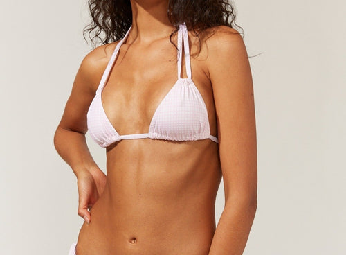 Solid & Striped Tenley Cloud Pink Grid Bikini Top