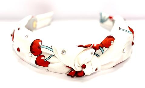 Bari Lynn White Knot Headband w/ Cherries