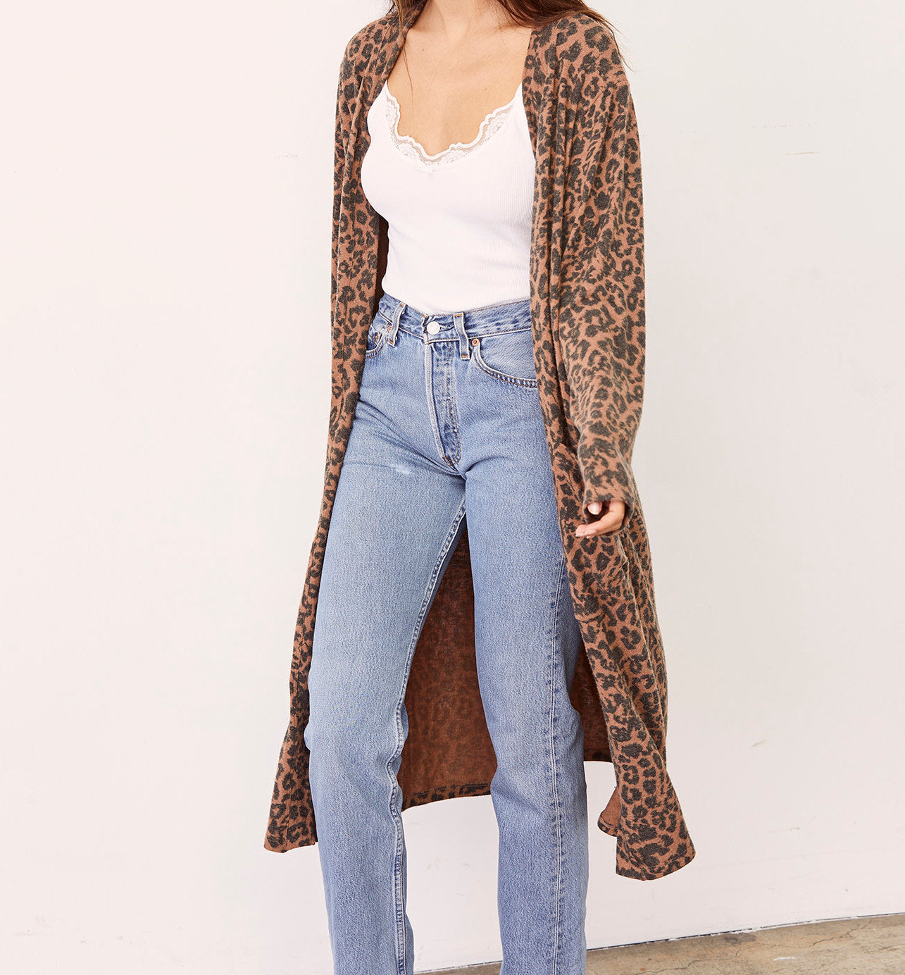LNA Brushed Dean Long Leopard Cardigan
