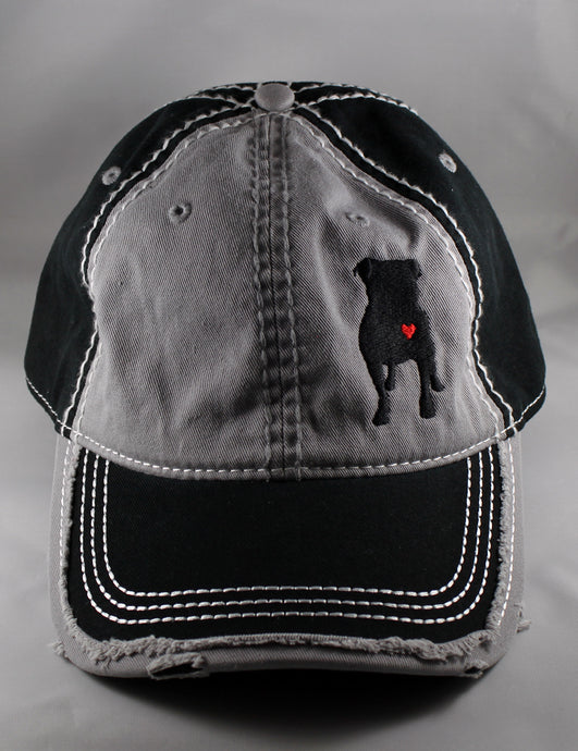 Gray/Black Frayed Baseball Cap