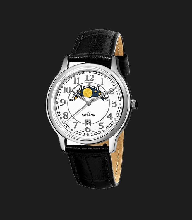 Bold Navy Blue Sunray Dial Brown Leather