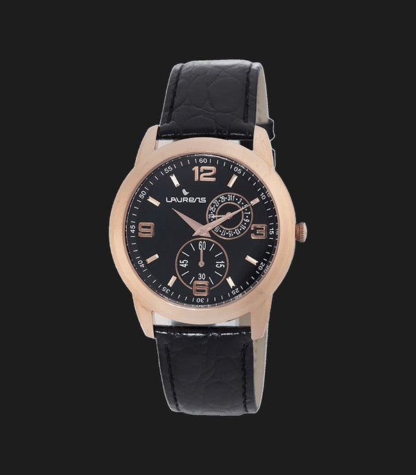 Bold Navy Blue Sunray Dial Brown Leather Men's Watch