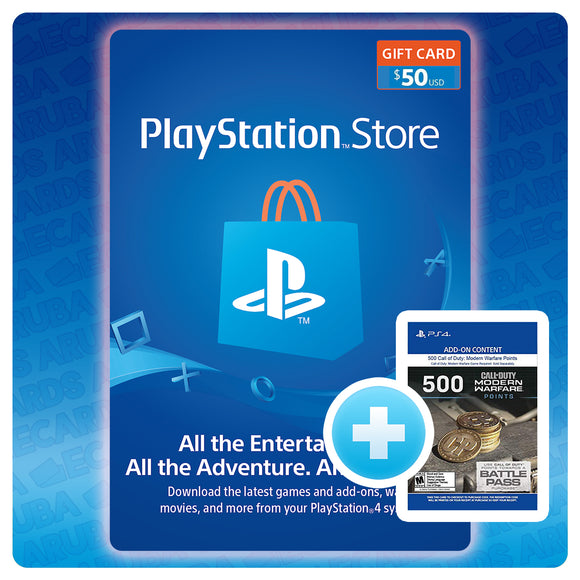 PSN $50 Gift Card Code + BONUS 500 COD POINTS (US)