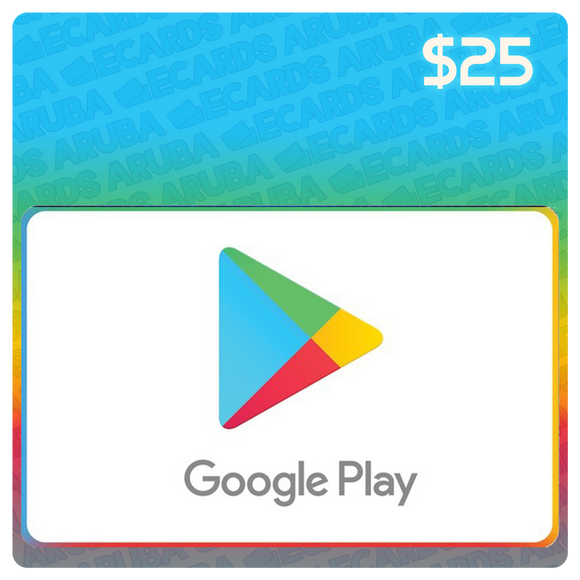 Google Play $25 Gift Card Codes (US) - eCards Aruba