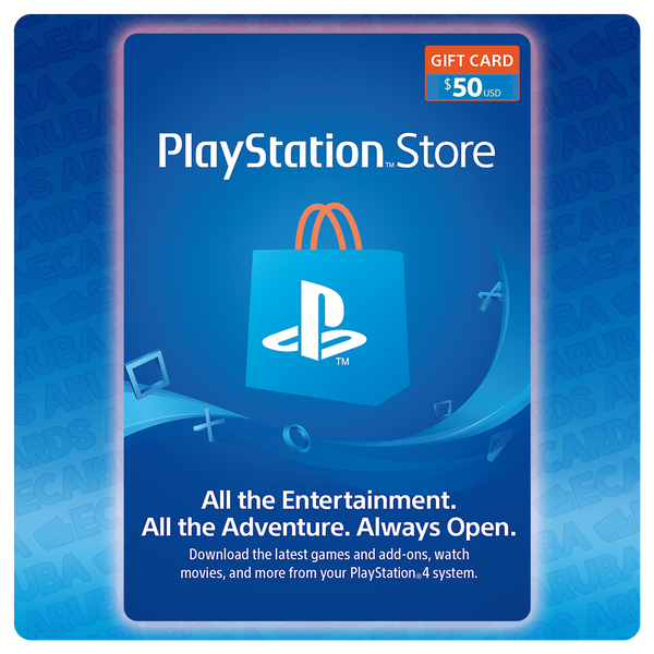 PlayStation Network $50 Gift Card Codes (US) - eCards Aruba