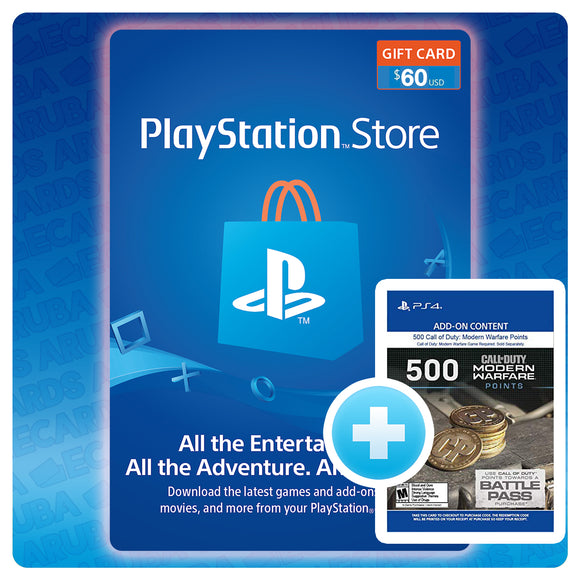 PSN $60 Gift Card Code + BONUS 500 COD POINTS (US)