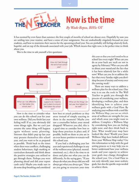 "Wade Repta's Article ""Now is the time"" Featured in The Teacher Magazine"