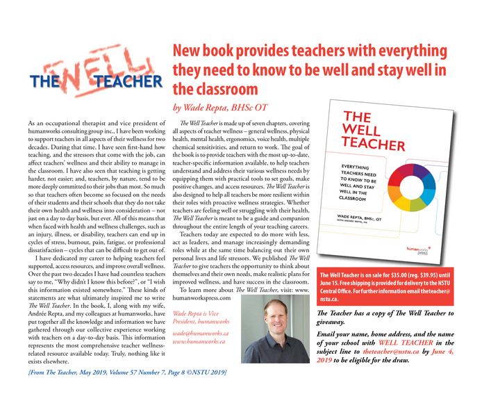 Repta's The Well Teacher Featured in the NSTU's The Teacher Magazine