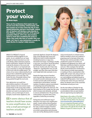 Protect Your Voice Pt.1 by Wade Repta for Teacher Magazine