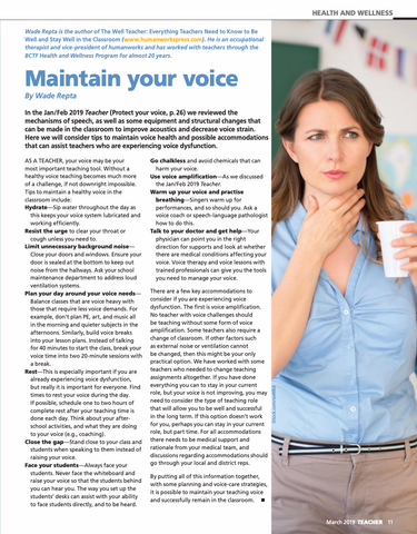 Maintain your voice by Wade Repta in Teacher Magazine