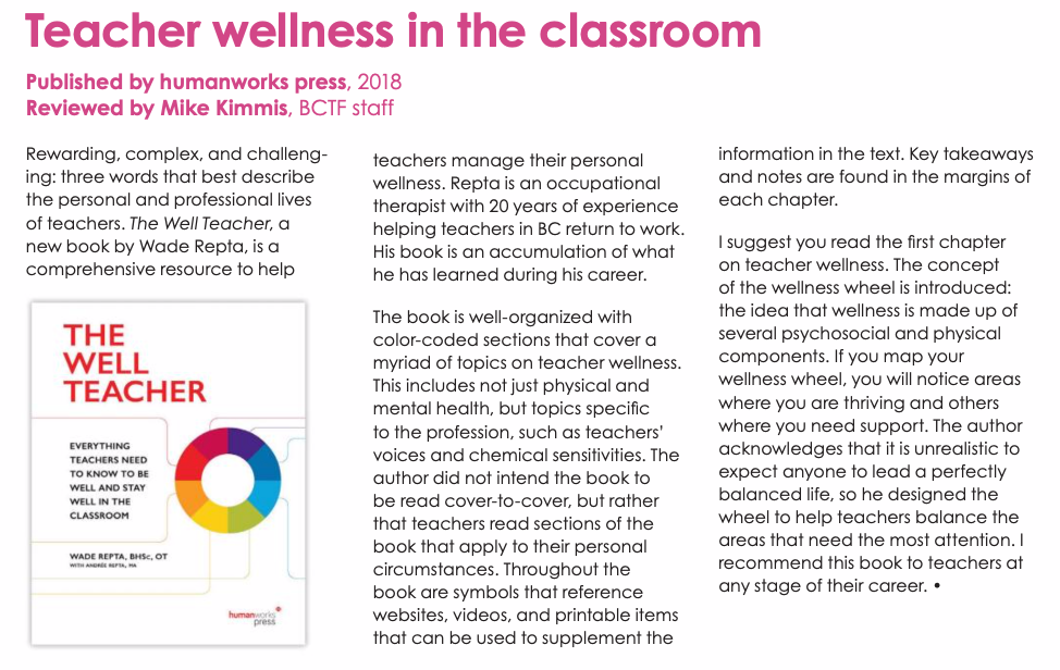 The Well Teacher book review in BCTF Teacher magazine