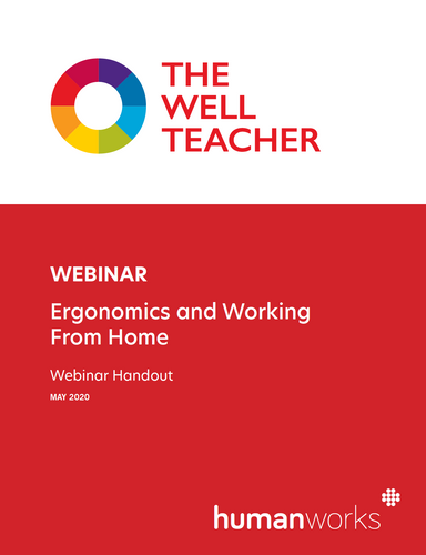 The Well Teacher Webinar Ergonomics and Working from Home handout title page