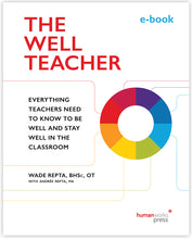 "Load image into Gallery viewer, The Well Teacher e-book cover image. A donut-shaped circle sits on the mid-right side of the page, opposite subtitle ""Everything Teachers Need to Know to Be Well and Stay Well in the Classroom"". The donut-shape is coloured in equally-sized portions of deep purple, royal blue, azure blue, lime green, rich yellow, tangerine orange, bright red, and deep red - from which similarly coloured lines emanate to frame the subtitle. All set on a white background."