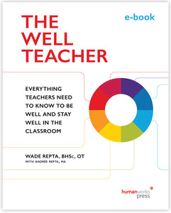"The Well Teacher e-book cover image. A donut-shaped circle sits on the mid-right side of the page, opposite subtitle ""Everything Teachers Need to Know to Be Well and Stay Well in the Classroom"". The donut-shape is coloured in equally-sized portions of deep purple, royal blue, azure blue, lime green, rich yellow, tangerine orange, bright red, and deep red - from which similarly coloured lines emanate to frame the subtitle. All set on a white background."