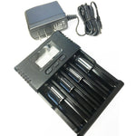 black battery charger with LCD screen and power cable.
