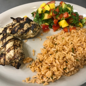 """NEW"" Mango Chicken w/ Spanish Rice"
