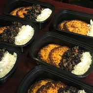 Sweet Potato Cakes w/ Slow Cooked Cuban Black Beans