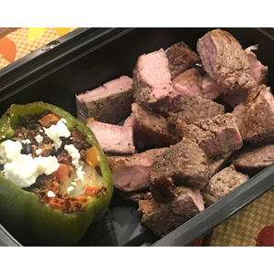Quinoa Stuffed Peppers w/ Garlic Steak, Chicken, Vegetarian
