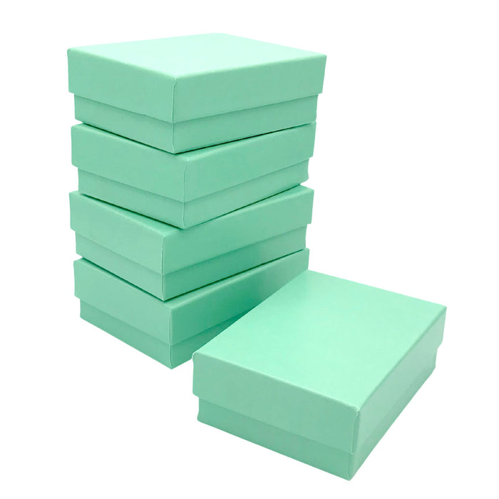 Teal Blue Cotton Filled Jewelry Boxes - 2 1/2 x 1 1/2 x 1 inch