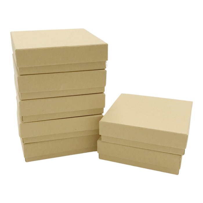 Kraft Cotton Filled Jewelry Boxes - 3 1/2 x 3 1/2 x 1 inch