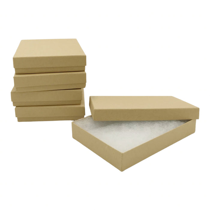 Kraft Cotton Filled Jewelry Boxes - 5 3/4 x 3 3/4 x 1 inch