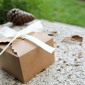 Kraft Brown Scallop Edge Gift Boxes with Ribbon-Gift Boxes-Cute Boxes and Bags