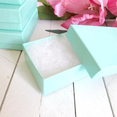 Teal Blue Cotton Filled Jewelry Gift Boxes - 2 1/2 x 1 1/2 x 1 inch-Jewelry Boxes-Cute Boxes and Bags