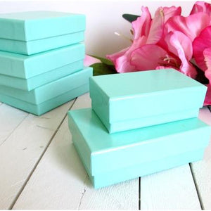 Teal Blue Cotton Filled Jewelry Gift Boxes - 3 1/8 x 2 1/8 x 1-Jewelry Boxes-Cute Boxes and Bags