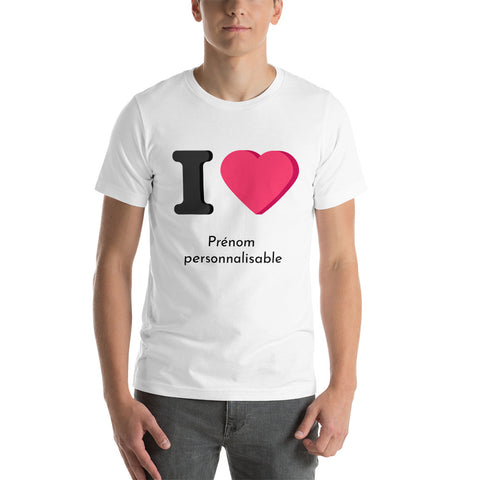T-shirt Blanc I Love - Personnalisable