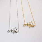 Angel Script Nameplate Necklace - Darlings Jewelry