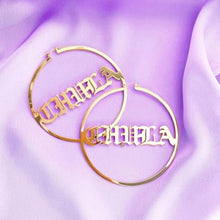 Load image into Gallery viewer, Old English Nameplate Hoop Earrings - Darlings Jewelry | Express Yourself Through Bling!