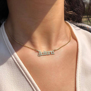 Old English Nameplate Necklace - Darlings Jewelry | Express Yourself Through Bling!