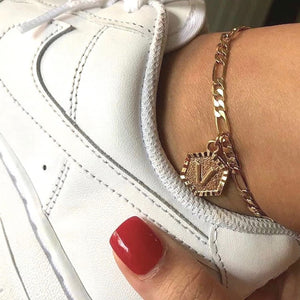 Roman Letter Pendant Anklet - Darlings Jewelry | Express Yourself Through Bling!