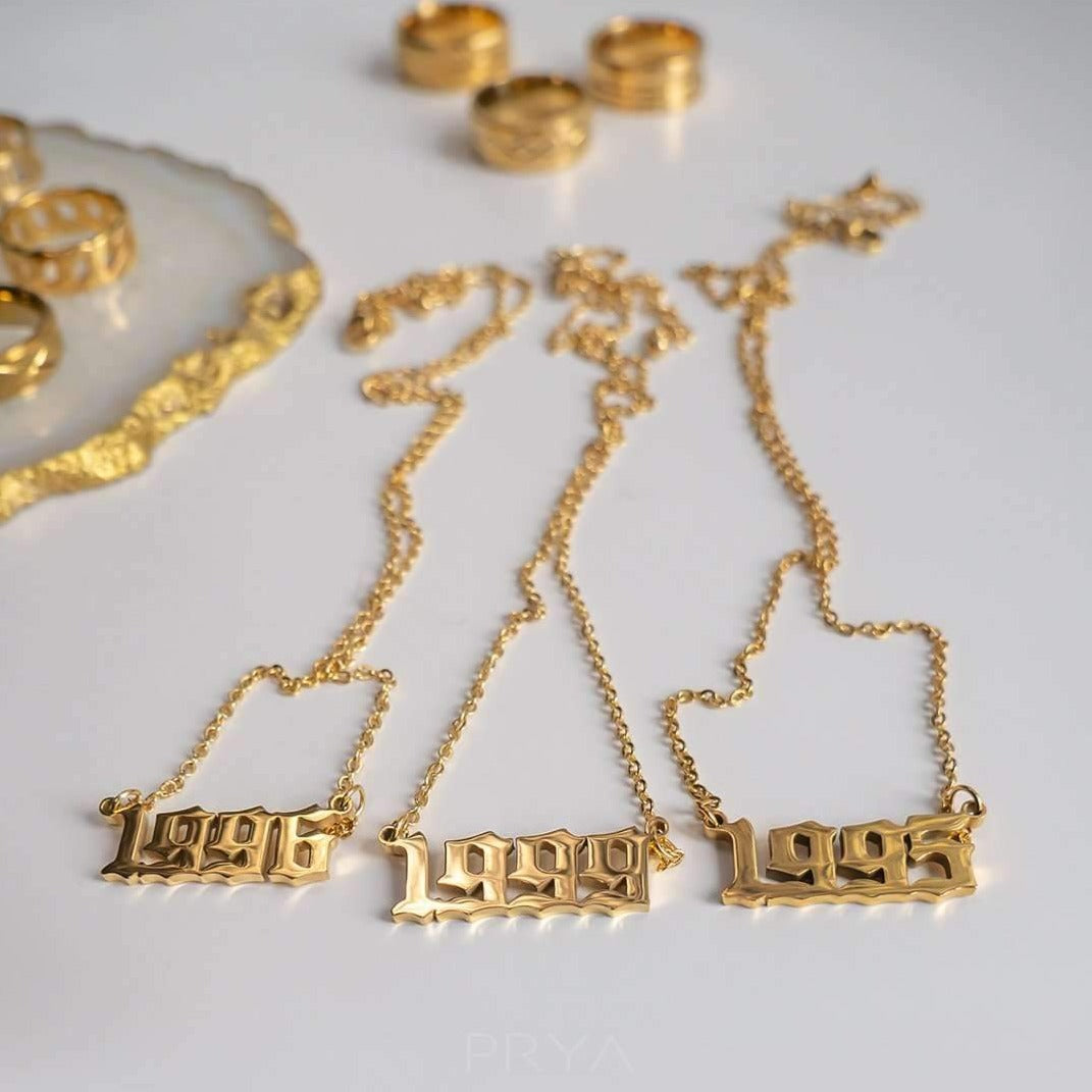 Old English Yearplate Necklace - Darlings Jewelry | Express Yourself Through Bling!