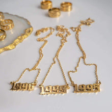 Load image into Gallery viewer, Old English Yearplate Necklace - Darlings Jewelry | Express Yourself Through Bling!