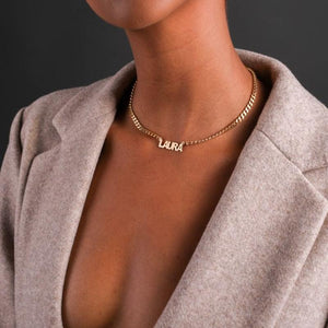 Boxy Nameplate Necklace with Cuban Chain - Darlings Jewelry | Express Yourself Through Bling!