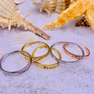 Dainty Engraved Stackable Ring - Darlings Jewelry | Express Yourself Through Bling!