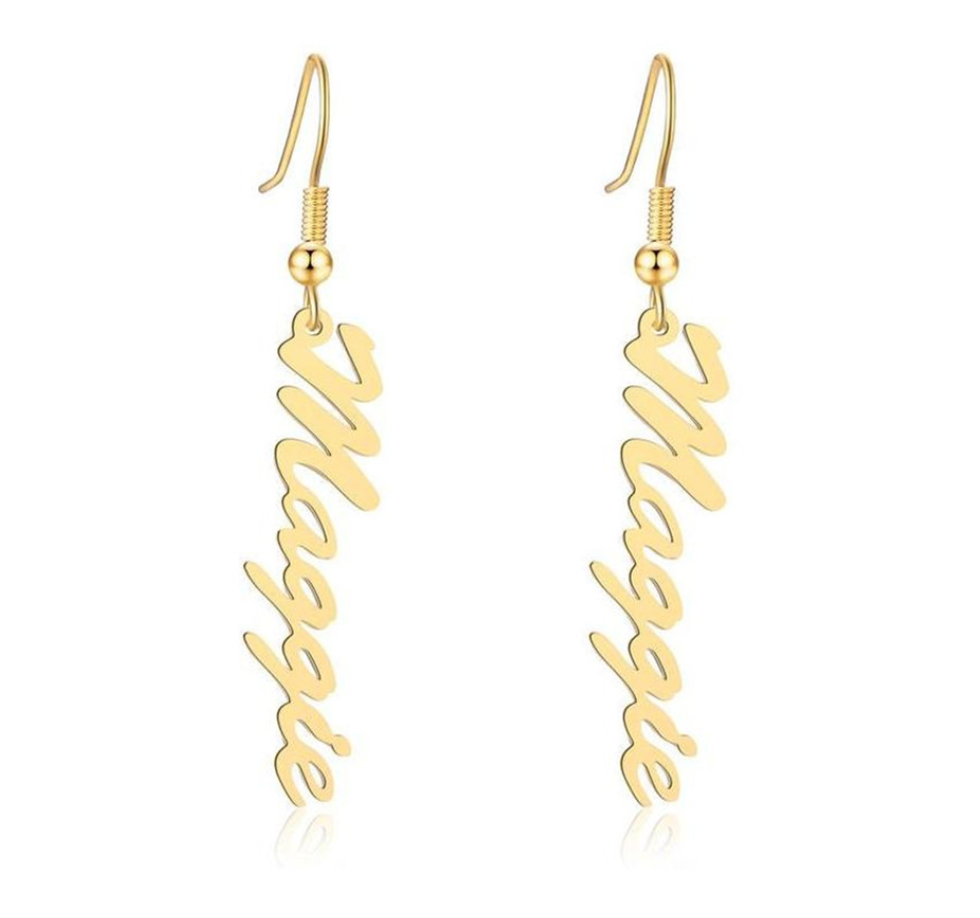 Classic Nameplate Drop Earrings - Darlings Jewelry | Express Yourself Through Bling!