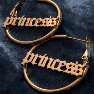Old English Nameplate Hoop Earrings - Darlings Jewelry | Express Yourself Through Bling!