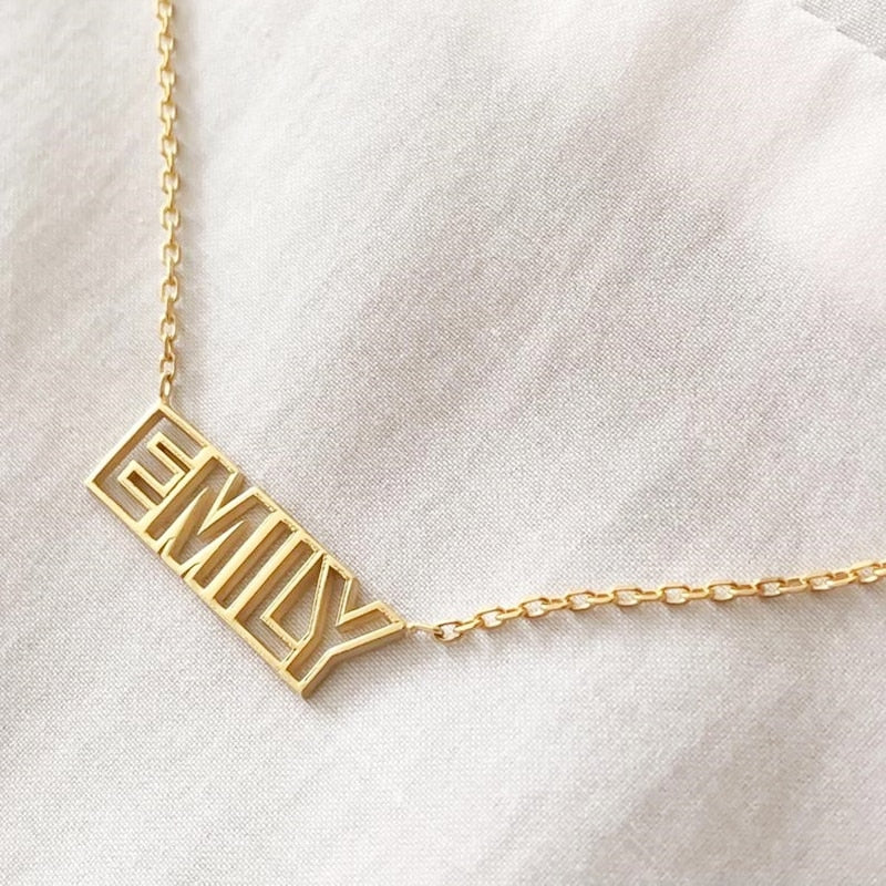 80s Retro Nameplate Necklace - Darlings Jewelry | Express Yourself Through Bling!