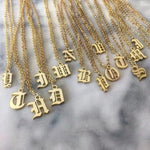Old English Initial Necklace - Darlings Jewelry | Express Yourself Through Bling!