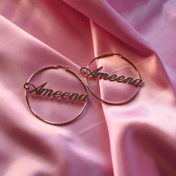 Classic Nameplate Hoop Earrings - Darlings Jewelry | Express Yourself Through Bling!