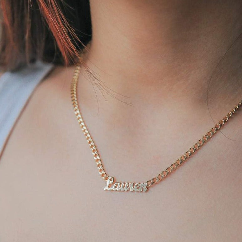 Classic Nameplate Necklace with Curb Chain - Darlings Jewelry | Express Yourself Through Bling!