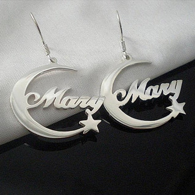 Moon Star Nameplate Earrings - Darlings Jewelry | Express Yourself Through Bling!