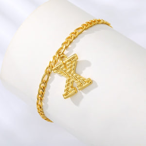 Pressed Gold Letter Anklet - Darlings Jewelry | Express Yourself Through Bling!