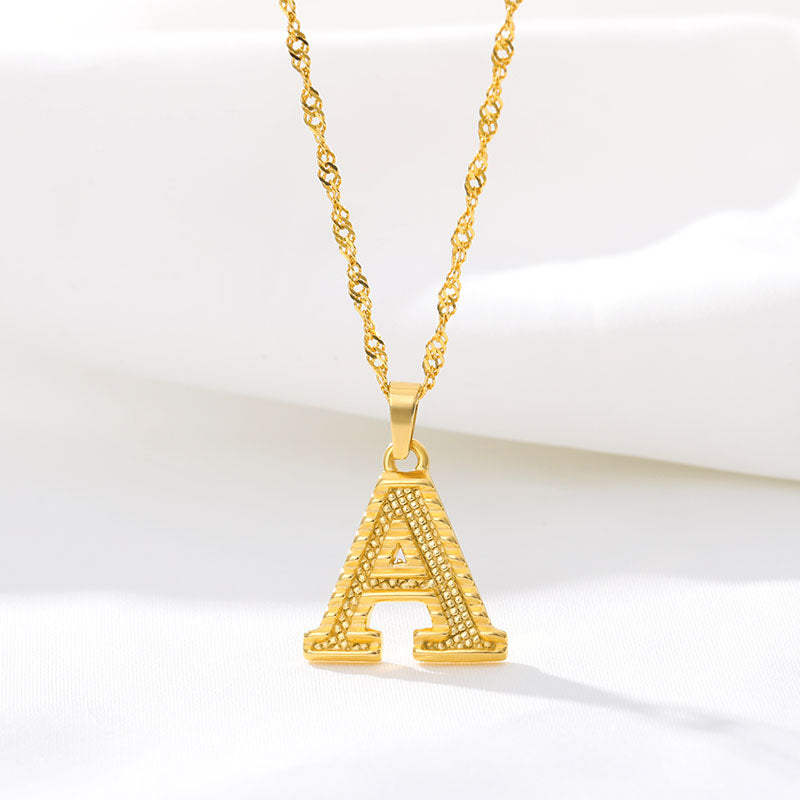 Pressed Gold Letter Necklace - Darlings Jewelry | Express Yourself Through Bling!